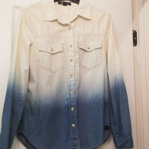 Forever 21 Premium Denim Ombre Chambray Shirt